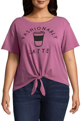 Fifth Sun Fashionably Latte Tie Front Tee - Juniors Plu