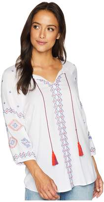 Tribal Woven Challis 3/4 Sleeve Embroidered Detail Blouse Women's Blouse