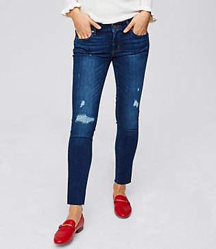 LOFT Tall Curvy Distressed Skinny Jeans in Dark Stonewash