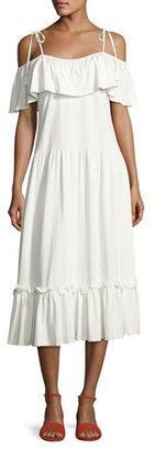 Rebecca Minkoff Mojave Cold-Shoulder Maxi Dress, White $128 thestylecure.com