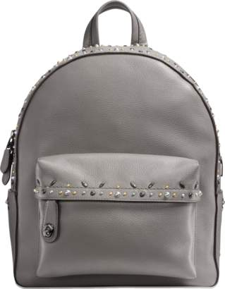 Coach Campus Backpack with Rivets in Grey Calfskin