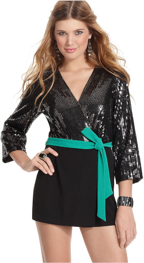 XOXO Juniors Romper, Three-Quarter-Sleeve Sequin Skort