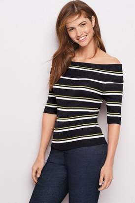 Next Womens Black Stripe Bardot Rib Jumper