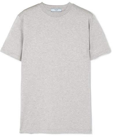 Prada - Rubber-appliquéd Cotton-jersey T-shirt - Gray