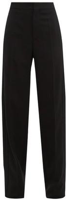 Balenciaga High Rise Twill Straight Leg Trousers - Womens - Black