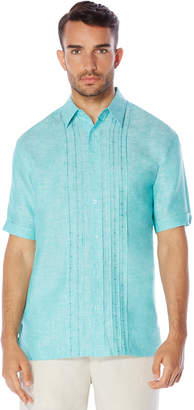 Cubavera 100% Linen Short Sleeve Ombre Geo Embroidered Shirt