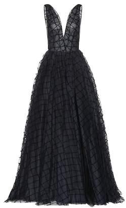 Oscar de la Renta Grid-textured gown