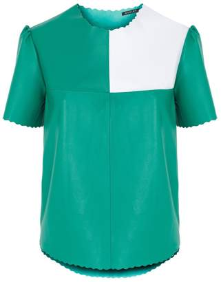 Manley - Boxter Leather Tee Green & White