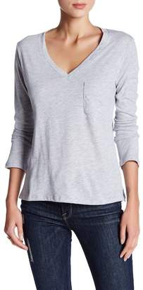 C & C California Mina Long Sleeve Deep V-Neck Pocket Tee $62 thestylecure.com
