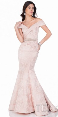 Terani Couture Brocade Off the Shoulder Evening Dress $693 thestylecure.com
