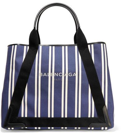 Balenciaga Balenciaga - Cabas Leather-trimmed Striped Canvas Tote - Navy
