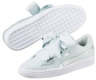 Puma Basket Heart Canvas & Leather Flatform Sneaker