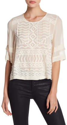 Lucky Brand Embroidered Sheer Blouse