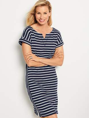 Talbots Stargazer Stripe T-Shirt Dress - Indigo Blue