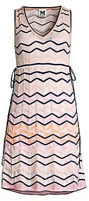 M Missoni Women's Multicolor Scalloped Chevron Knit A-Line Dress