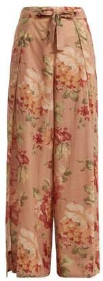 Zimmermann - Corsair Tie Floral Print Cotton Trousers - Womens - Beige Multi