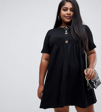 Asos DESIGN Curve mixed fabric mini smock dress with faux horn button