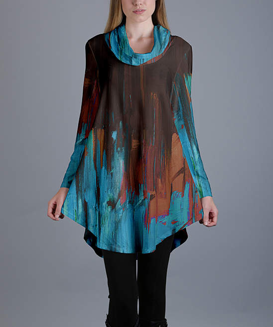 Blue & Brown Abstract Round-Hem Cowl Neck Tunic - Women & Plus