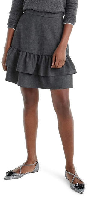 J. Crew Wool Flannel Ruffle Skirt