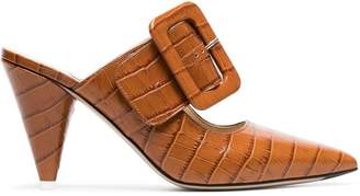 ATTICO brown croc-effect leather mules