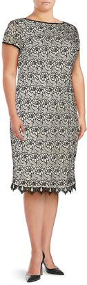 Adrianna Papell Women's Plus Floral Lace Sheath Dress