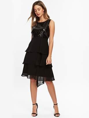 Wallis Petite Sequin Hem Dress - Black