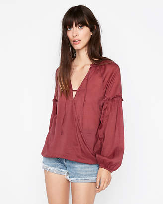 Express Surplice Ruffle Sleeve Blouse