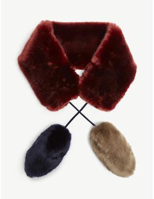 FUZZ NOT FUR Faux-fur double pompom scarf