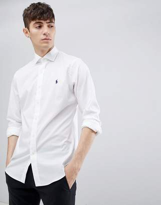 Polo Ralph Lauren slim fit poplin shirt with player logo cutaway collar in white