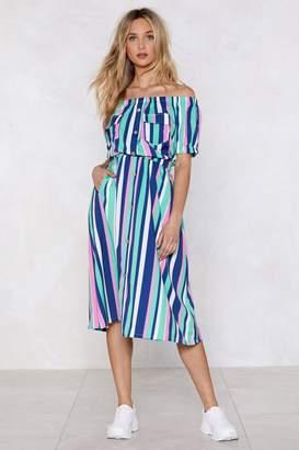 Nasty Gal Come Stripe in Off-the-Shoulder Dress