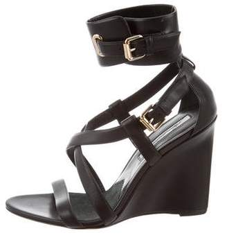 Brian Atwood Leather Wedge Sandals