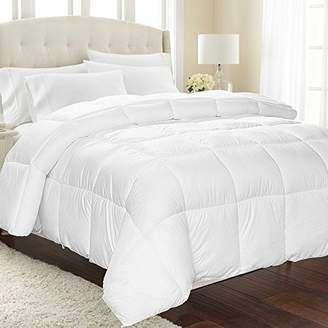 Equinox International Equinox All-Season White Quilted Comforter - Goose Down Alternative Queen Comforter - Duvet Insert Set - Machine Washable - Hypoallergenic - Plush Microfiber Fill (350 GSM)