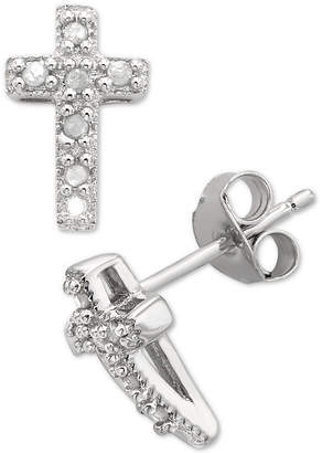 Macy's Diamond Cross Stud Earrings (1/10 ct. t.w.) in Sterling Silver