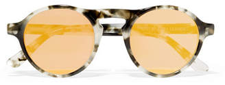 Westward Leaning Dyad Round-frame Acetate Mirrored Sunglasses - Gray
