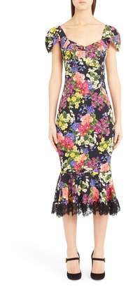 Dolce & Gabbana Floral Print Flare Hem Silk Blend Charmeuse Dress