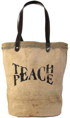 Vintage Addiction Leather Trim Teach Peace Recycled Military Tent Tote