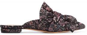 Schutz D'ana Bow-Embellished Jacquard Slippers