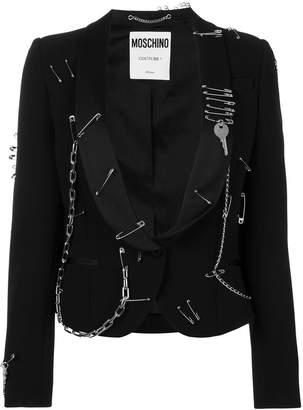 Moschino safety-pins chain blazer