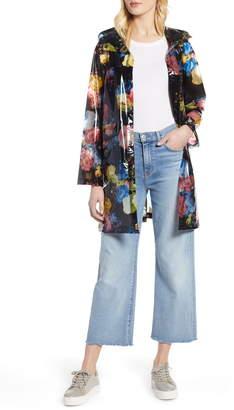 Halogen Floral Print Translucent Hooded Rain Jacket
