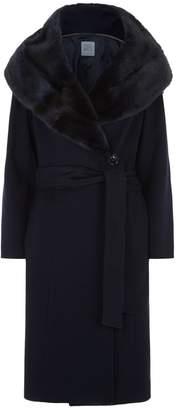Cinzia Rocca Mink Trim Wrap Coat