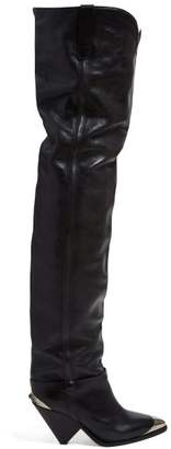 Isabel Marant Lafsten Thigh High Leather Boots - Womens - Black