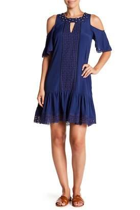 Hale Bob Cold Shoulder Lace Trimmed Dress