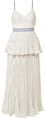 Self-Portrait Tiered Striped Crepe Midi Dress - White