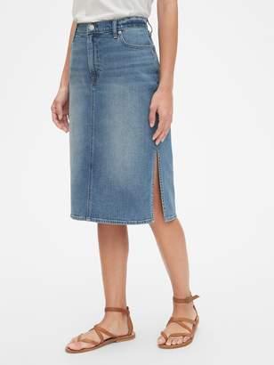 fd8c495e6 Gap High Rise Denim Midi Skirt