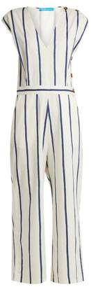 MiH Jeans Elm Striped Stretch Cotton Jumpsuit - Womens - Blue White