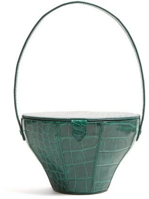 Staud - Alice Crocodile Effect Leather Bag - Womens - Green