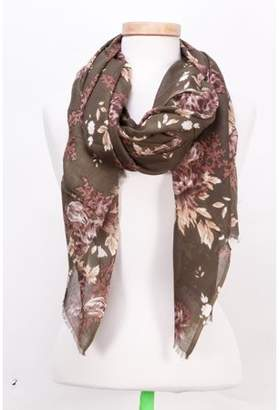 "Tickled Pink Vintage Floral Scarf, 40"" x 68"", 100% Viscose, Green"