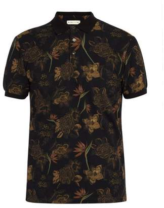 Etro Floral Print Cotton Polo Shirt - Mens - Black Multi