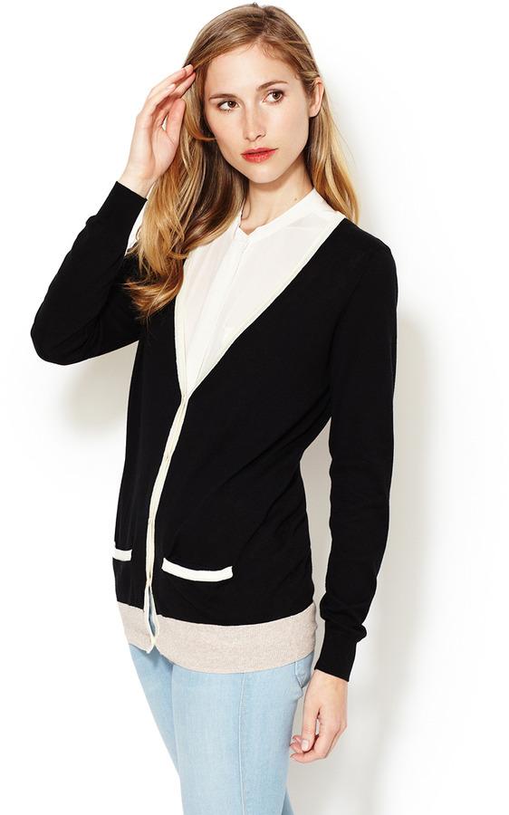 Trovata Contrast Trim Cotton Cardigan