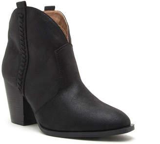 Qupid Womens Prenton-38 Booties Stacked Heel Pull-on